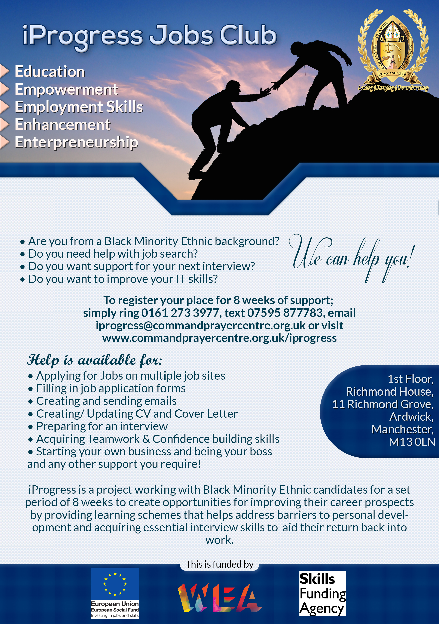 the iprogress jobs club for bme communities in manchester iprogress jobs club flyer jpg