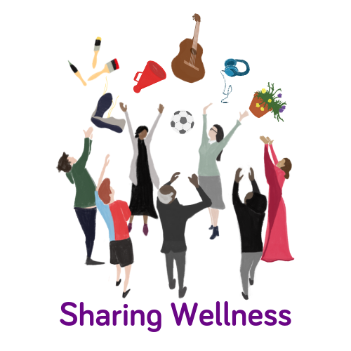Macc's 'Sharing Our Wellness' logo showing a group of people reaching for enjoyable things such as a guitar, painting materials, a plantbox, etc.